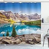 ABAKUHAUS Landschaft Duschvorhang, Beruhigen See & Berg, Klare Farben aus Stoff inkl.12 Haken Farbfest Schimmel & Wasser Resistent, 175 x 200 cm, Blau-grün-Grau