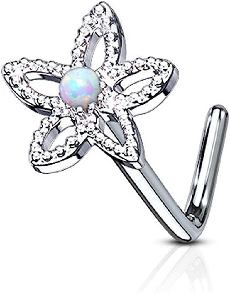 Covet Jewelry Flower Contour Dome Opal Center 316L Surgical Steel L Bend Nose Stud Ring