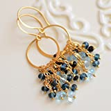 Gold Earrings with London Blue Topaz and...