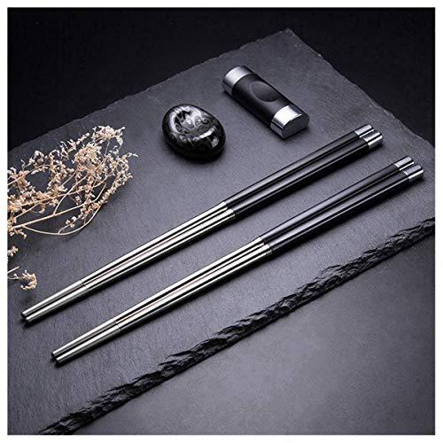 Hongyantech - Juego de 5 Pares de Palillos de Acero Inoxidable, Set de Regalo para hoteles, restaurantes y comedores japoneses