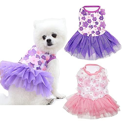 2 Pack Dog Dress  Pink Violet Peach Blossom Dog Shirts Wedding Dress Dog Princess Skirt Elegant Pet Summer Apparel Doggie Clothes for Small Dogs Cats Pets
