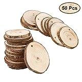 Holzscheiben mit Loch (50 Stück) - 3-5 cm Unbehandelte Holzscheiben mit 3 mm Gewindloch - Rustikale Holz Log Scheiben 3-5 mm Dicke - Holzscheiben für Kunsts, Handwerk und Dekoration