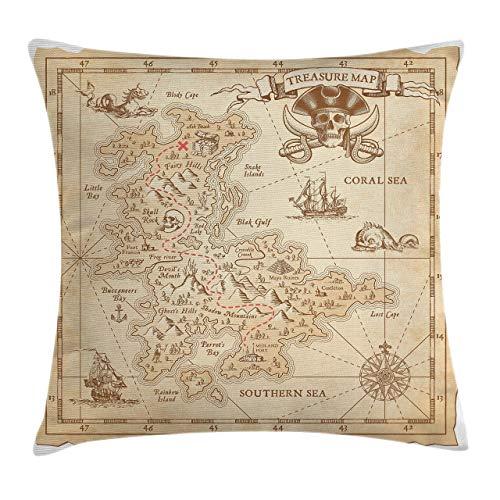Funda de cojín para cojín con detalles de diseño de pirata, diseño de mapa del tesoro antiguo antiguo con diseño de pirata y aventuras, 45,7 x 45,7 cm, color crema