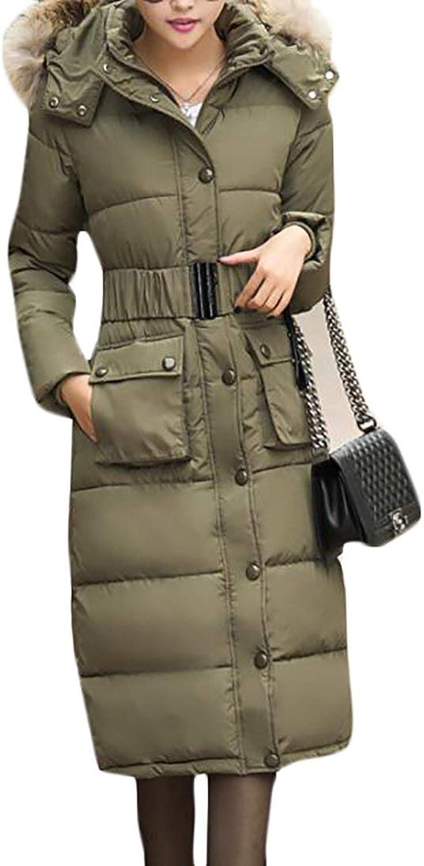 SELXWomen Warm Faux Fur Hoodie Parka Puffer Jacket Winter Long Down Coat