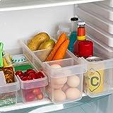Organizador de Almacenamiento 2 Pcs- Almacenamiento para refrigerador -(40cmx12cmx16cm)– Organizador de Alimentos - Cestas de Plastico - Duradero Contenedores Apilables para Cocina, Despensa, Nevera