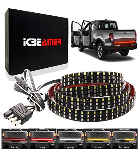 ICBEAMER 6-Function 60' Triple Row 504 LED Truck Tailgate Light Strip Bar Waterproof Reverse Turn Signal, Parking, Brake