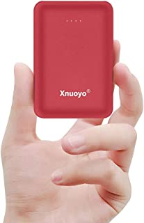 Xnuoyo Mini Power Banks 10000mAh Portable Charger Ultra Compact Power Bank with Dual Input and Output External Battery Pack Compatible with Most Smart Phones(Red)