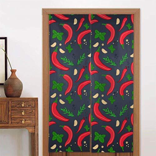 34 X 56 pulgadas (86x143cm) Cortinas de cocina para sala de estar Arte orgánico natural Cortina de chile vegetal Cortina de puerta delantera para dormitorio Niños Tipo largo para decoración de puerta