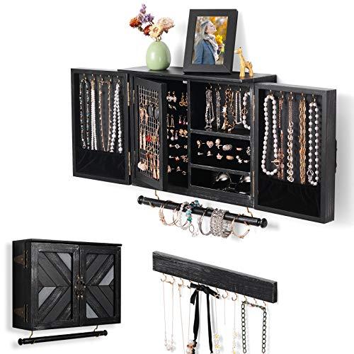 Ikkle Portagioielli montato a parete Organizzatore di gioielli rustici con bracciale rimovibile asta, Supporto da parete in legno per collane, bracciali, orecchini, Colorato nero, rustico