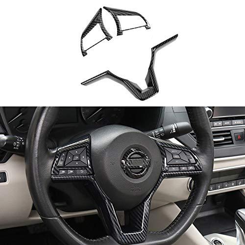 MAXDOOL Carbon Fiber Steering Wheel Cover Sequins Frame Trim for Nissan Rogue Altima Sentra Kicks LEAF Versa Interior Accessories