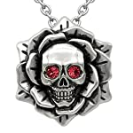 "Skull Rose Birthstone Necklace with Swarovski Crystal 17"" - 19"" Adjustable Chain 6"
