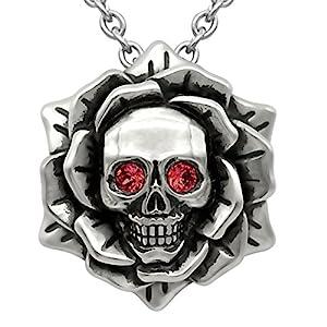 Skull Rose Birthstone Necklace with Swarovski Crystal 17″ – 19″ Adjustable Chain