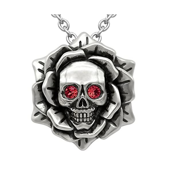 "Skull Rose Birthstone Necklace with Swarovski Crystal 17"" - 19"" Adjustable Chain 3"