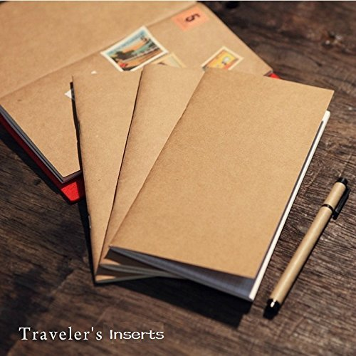 Refill Inserts for Traveler's Notebook Personal Size, Set with 4 Notebooks- Blank/Lined/Square Grid/Dot Grid Paper(3.7 x 6.5 Inch)
