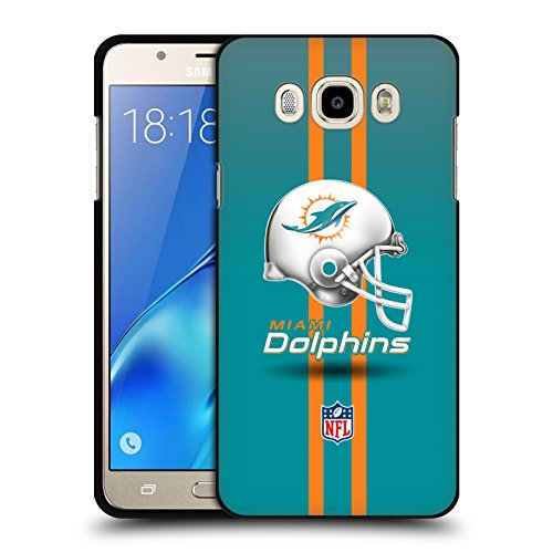 Head Case Designs Oficial NFL Casco Logotipo de Miami Dolphins Funda de Gel Negro Compatible con Samsung Galaxy J7 (2016)