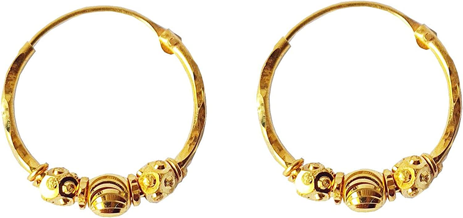 Certified Solid 22K/18K Yellow Fine Gold Carved Design Hoop Earrings Available In Both 22 Carat And 18 Carat Fine Gold, For Women,Girls,Kids,Gifts,Bridal,Wedding,Engagement & Celebrations