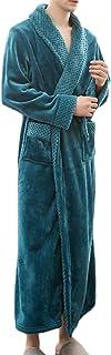 Keaac メンズローブは、プラスサイズフランネル冬暖かいシックなバスローブ