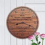 Relojes de pared Videógrafo de boda Boda Editor de vídeo de novia y novio Pareja Videógrafo de boda Silencioso estilo toscano Reloj de madera Decoración del hogar