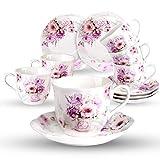 Cerámica 6 Juegos de Tazas de Café Con Platos - 220ML Exquisita Diseño de Flores Floreciente Set de Regalo de Set de Café Tazas Para Espresso, Café Solo, Cortado
