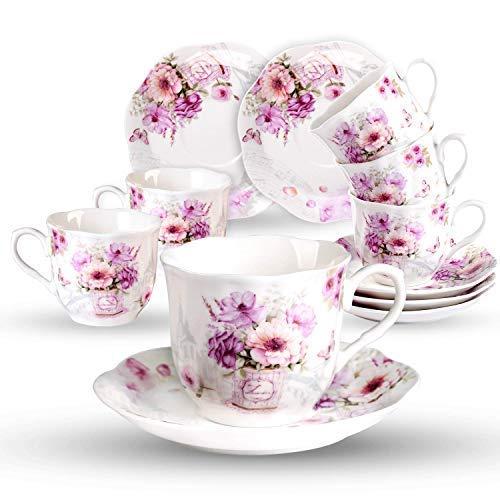 GuangYang Cerámica 6 Juegos de Tazas de Café con Platos - 220ML Exquisita Diseño de Flores Floreciente Set de Regalo de Set de Café Tazas para Espresso, Café Solo, Cortado