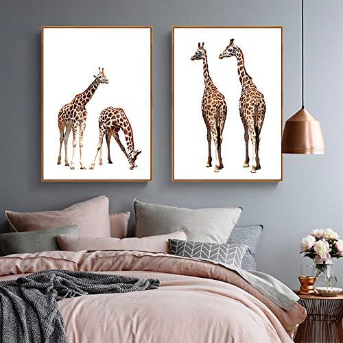 WEDSA murale su Tela pittura Poster decorazione Giraffa animali Tela pittura Moderna paesaggio Poster nordico decorazione casa Wall Art Immagine per soggiorno cameretta arredamento 50x70cmx2 No Frame