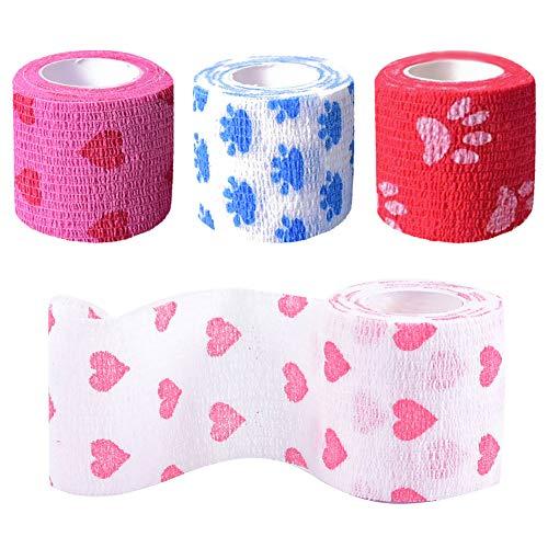 AODOOR 8 rollos de vendaje autoadherente, vendaje cohesivo vendaje elástico cinta deportiva cinta elástica cinta elástica para lesiones para muñeca esguinces de tobillo, hinchazón, vendaje vet