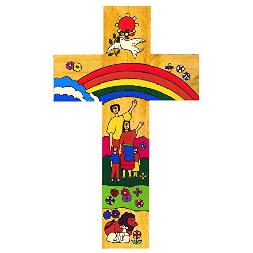 Rainbow Cruz. 12cm cruz de madera. Lovely primera Santa Comunión o bautizo GFT