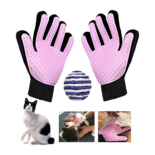 Anshin ペットブラシ おもちゃ セット 手袋 グローブセット マッサージブラシ おもちゃ付き 犬用 猫用 抜け毛取り お手入れ (1セット) (ピンク, おもちゃのボール)