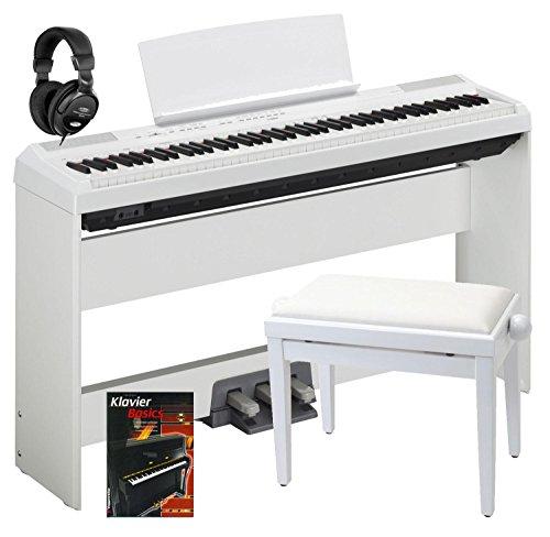 Yamaha P-115WH Stage Piano SET inkl. Ständer, Pedaleinheit, Kopfhörer, Bank, Schule (88 gewichtete Tasten, Begleitstyles, Rhytm-Funktion, inkl. Notenhalter, Pedal, Netzadapter, Stativ, Noten) weiß