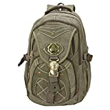 LONGING TO BUY Substantial Quality Multi Pockets Canvas Backpack for Both Men & Women (Greenish)