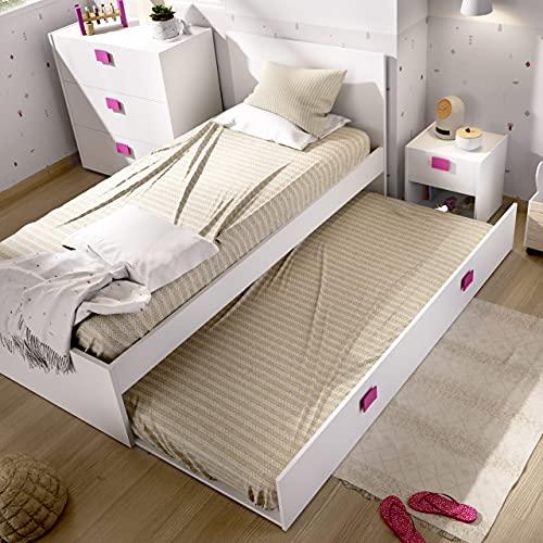 HABITMOBEL Cama Nido con Cama Inferior incluida, Ideal para Habitaciones Infantiles y Juveniles. 76 cm (Alto) x 96 cm (Ancho) x 196 cm (Prof.) Rosa