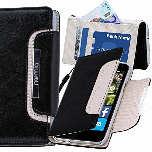 numia Microsoft Lumia 650 Hülle, Handyhülle Handy Schutzhülle [Book-Style Handytasche mit Standfunktion & Kartenfach] Pu Leder Tasche für Microsoft Lumia 650 Hülle Cover [Schwarz-Weiss]