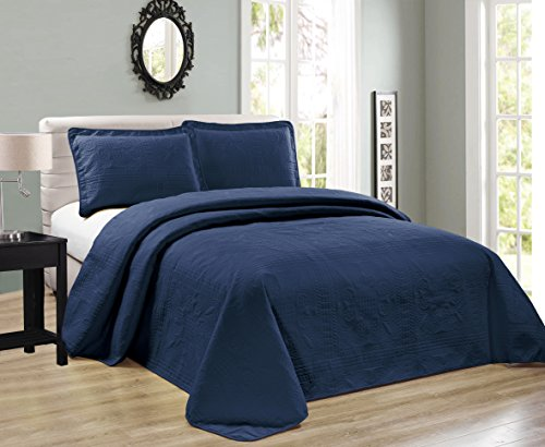 Elegant Home Beautiful Over Sized Dark Blue Navy Solid Color Embossed Floral Striped 3 Piece Queen/Full Size Coverlet Bedspread (Queen/Full, Navy)