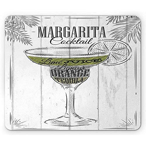 Cocktail Mouse Pad,Zutaten Von Margarita Sketch Limettensaft Likör Orange Und Tequila,Rechteck Rechteck Rutschfeste Gummi Mousepad,Grau Weiß Apfelgrün