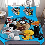 Victoria Anime Bedding Duvet Cover Set,Full (80x90 inch), Looney Tunes (22),3 Pieces Bedding Set,with Zipper Closure and 2 Pillow Shams, Cute Cartoon Bedroom Comforter Sets for Boys Girls