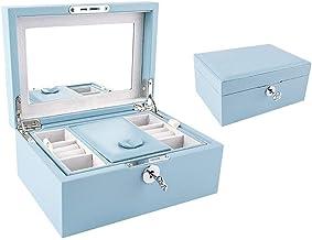 MU Boîte à Bijoux en Bois Solide de boîte de Rangement portative de ménage/tiroir de Bijoux avec la boîte de Finition en B...