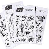 CAILI 4 Set Transparente Álbum de Álbumes de Recortes Álbum de Sellos de Silicona Transparente Sellos de Plantas y Para DIY Postales de Recortes Decoración