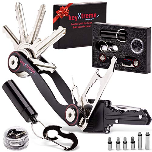 Smart Key Holder Organizer up to 36 standard keys, Compact Key Organizer with improved Anti-Loosening system, Smart Keychain with 10+ multi-tool accessories.