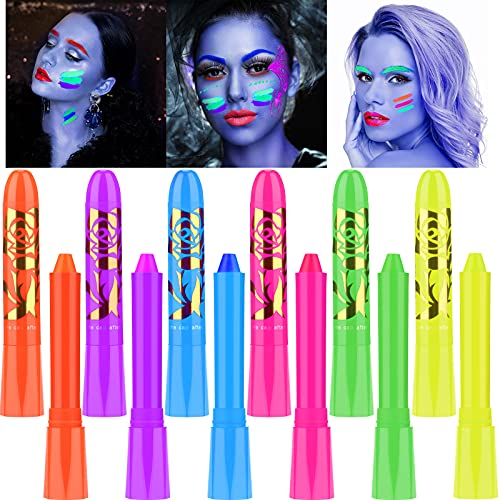 12 Pieces Halloween Luminous Face Paint Crayons Glow in The Dark UV Neon Washable Face and Body Painting Crayon Fluorescent Making up Crayons for Halloween Makeup Supplies