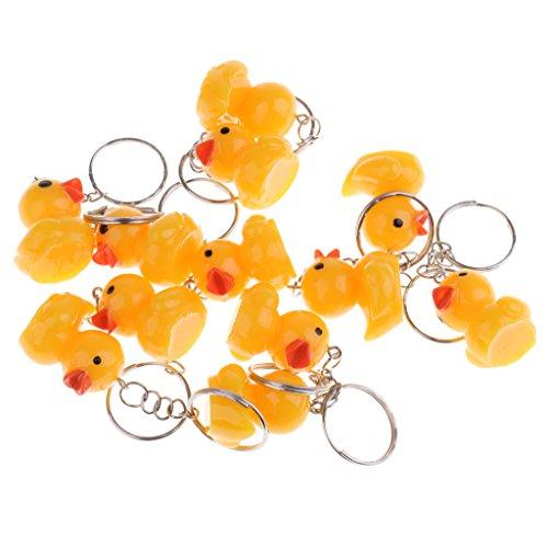 P Prettyia Lot de 12PCS Porte-clés Canard Jaune en Plastique Ornement Sac à Main Maison Jardin avec Porte-clés Pendentif