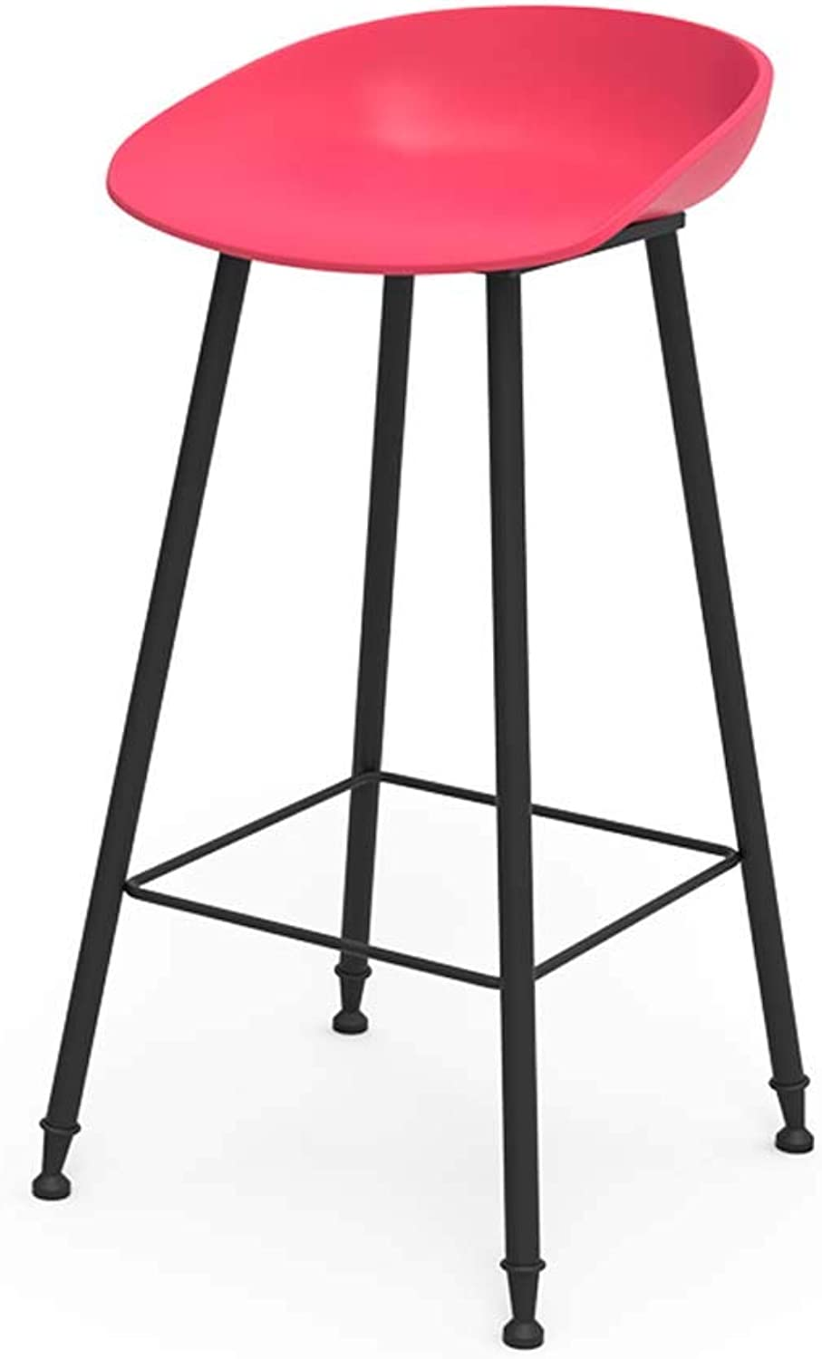 Bar Stool Bar Chair High Stool Iron High Chair Kitchen Cafe Chair Counter Hotel Chair Dining Chair Living Room Desk Chair (color   RED)