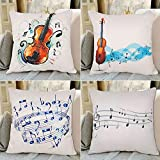 Hibedding Music Note Throw Pillow Case Cover Decorative Violin Cushion Cover for Sofa Couch Bedroom livingroom (4 Pack Music)