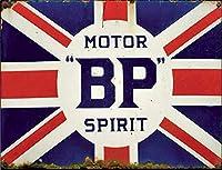 なまけ者雑貨屋 Motor Bp Spirit Uk Flag アメリカン ビンテージ風 レトロ アンティーク ブリキ看板 メタルプレート 屋内 用