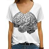Women's Tee Smart Color Neurology Engraving Brain On Medicine Gray Scale Biology Monochrome Healthcare Medical Top T-Shirt