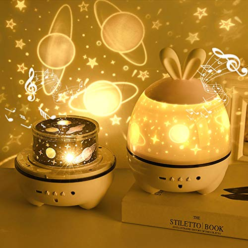 HJHY Kids Star Projector, 360°Rotating with Blutooth Music Speaker USB Charging Mood Lamp, Remote Control, 12 Songs Music, Best Gift for a Baby's Bedroom, 6 Sets of Film