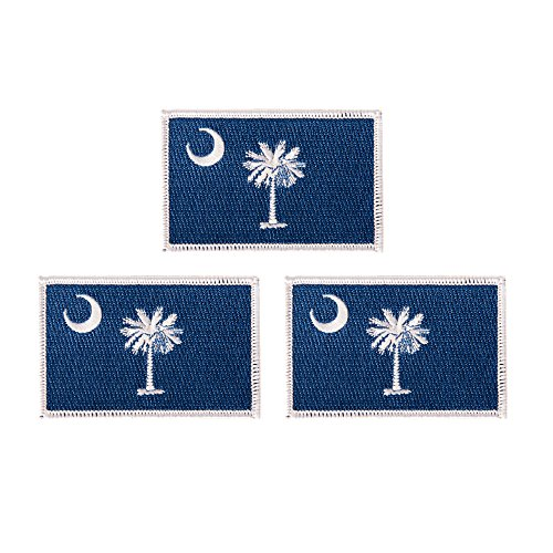 South Carolina SC Flag Patch Bulk 3.5 inch x 2.25 inch State Iron On Sew Embroidered Tactical Backpack Hat Bags (3-Pack Patch)