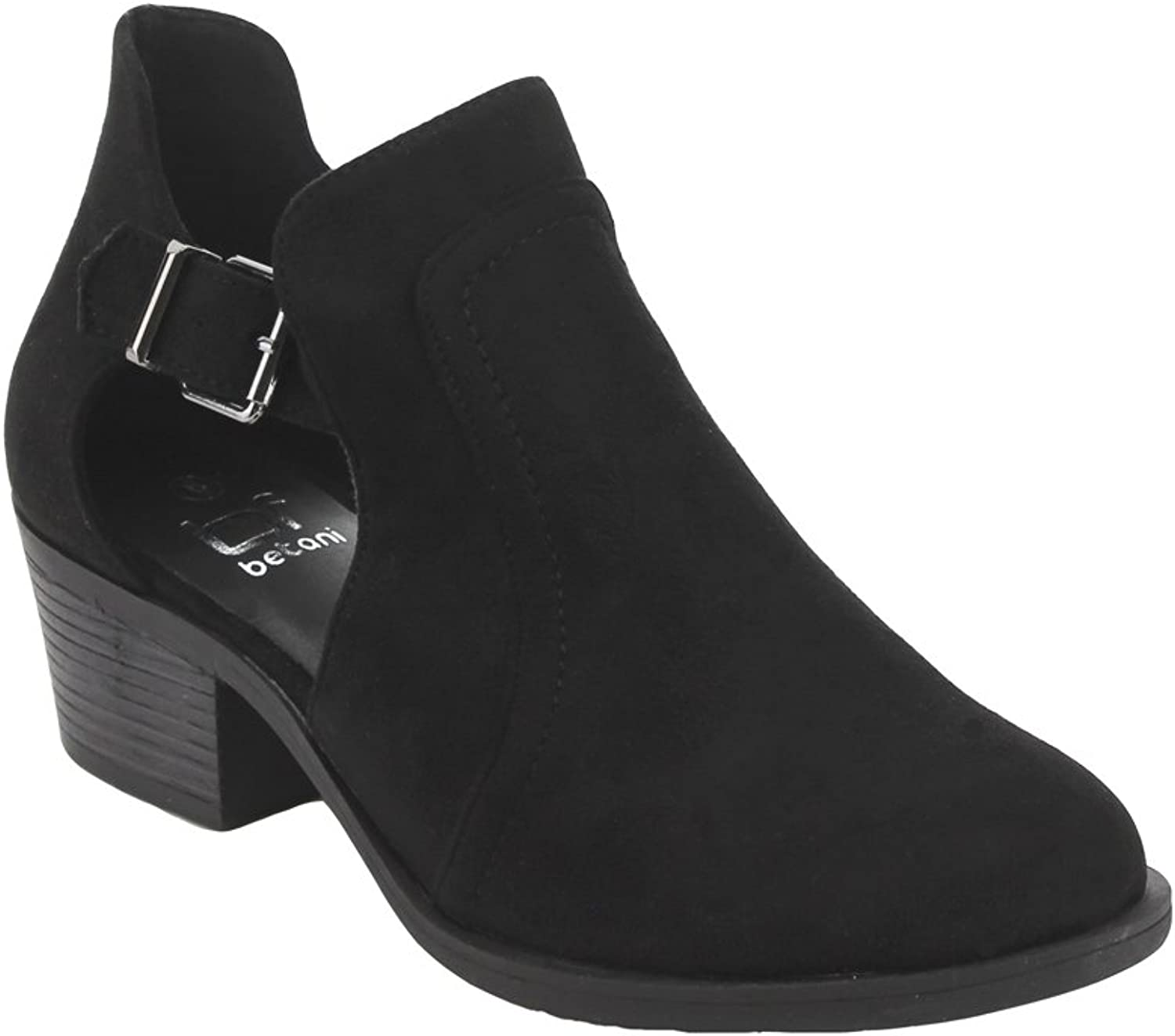 BETANI Women's Side Cut Out Buckle Strap Stacked Chunky Heel Ankle Boot