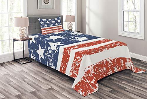 ABAKUHAUS Amerika Tagesdecke Set, Flagge der Vereinigten Staaten, Set mit Kissenbezügen Sommerdecke, für Einselbetten 170 x 220 cm, Weiß Blau & Rot