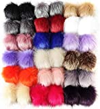 Cieovo 36 Pieces Faux Fur Pom Pom Balls DIY Fluffy Pom Pom Faux Fox Fur Pompoms with Elastic Loop for Hats Scarves Gloves Bags Accessories(18 Colors, 2 Pcs for Each Color)