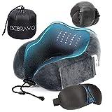 【2020年最新改良版】ネックピロー 飛行機  低反発 U型まくら BeBravo 旅行用 昼寝 首枕 コンパクト 通気性が良く 軽量 携帯枕 3Dアイマスク 収納袋付き